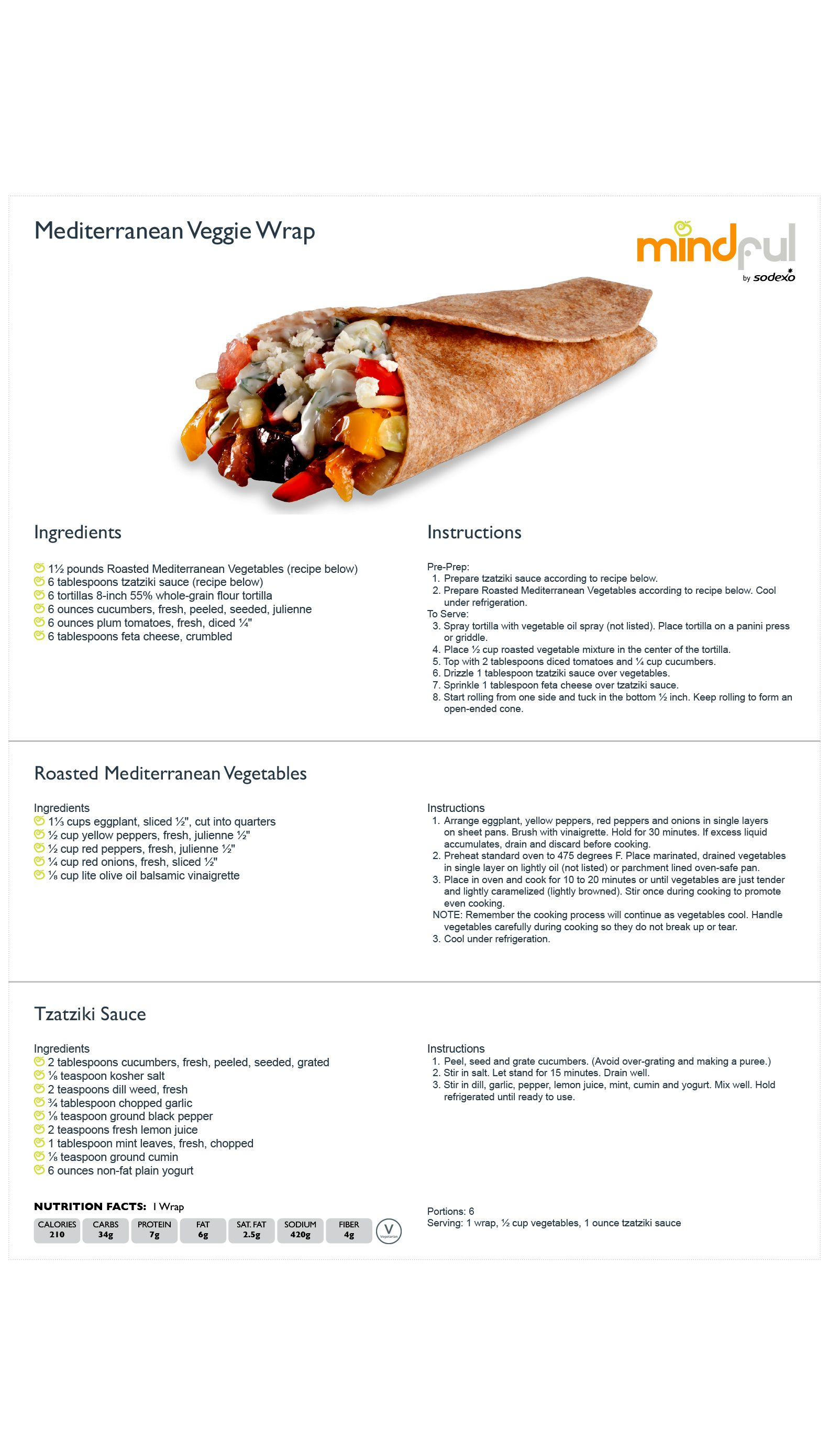 Mediterranean Veggie Wrap Mindful Sodexo Com Yogurt Nutrition Facts Roasted Mediterranean Vegetables Veggie Wraps