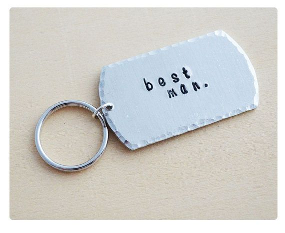 Best Man Keyring Quote Keychain Aluminum Dog Tag Wedding Gift Groomsmen Party
