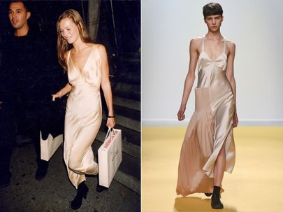 Kate Moss Style: The Catwalk Trends She Wore First | British Vogue. Boudoir dressing is still on fashion's radar. A silky slip has now become a trusty wardrobe staple. || Kate at a Richard Avedon book party in 1993. Catwalk: Off White.