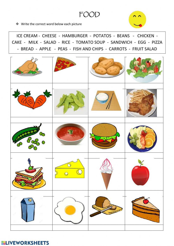 Food Interactive Worksheet English Worksheets For Kids Food Lessons English Lessons For Kids [ 1413 x 1000 Pixel ]