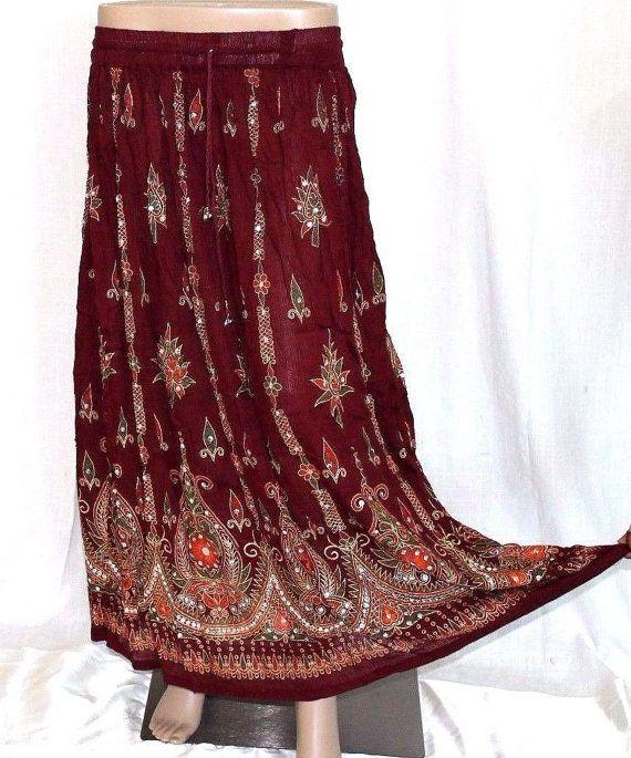 Maroon sequin Skirt Indian Asian long Sequin Skirt Bollywood Boho Gypsy Hippie Handmade Dress Skirt