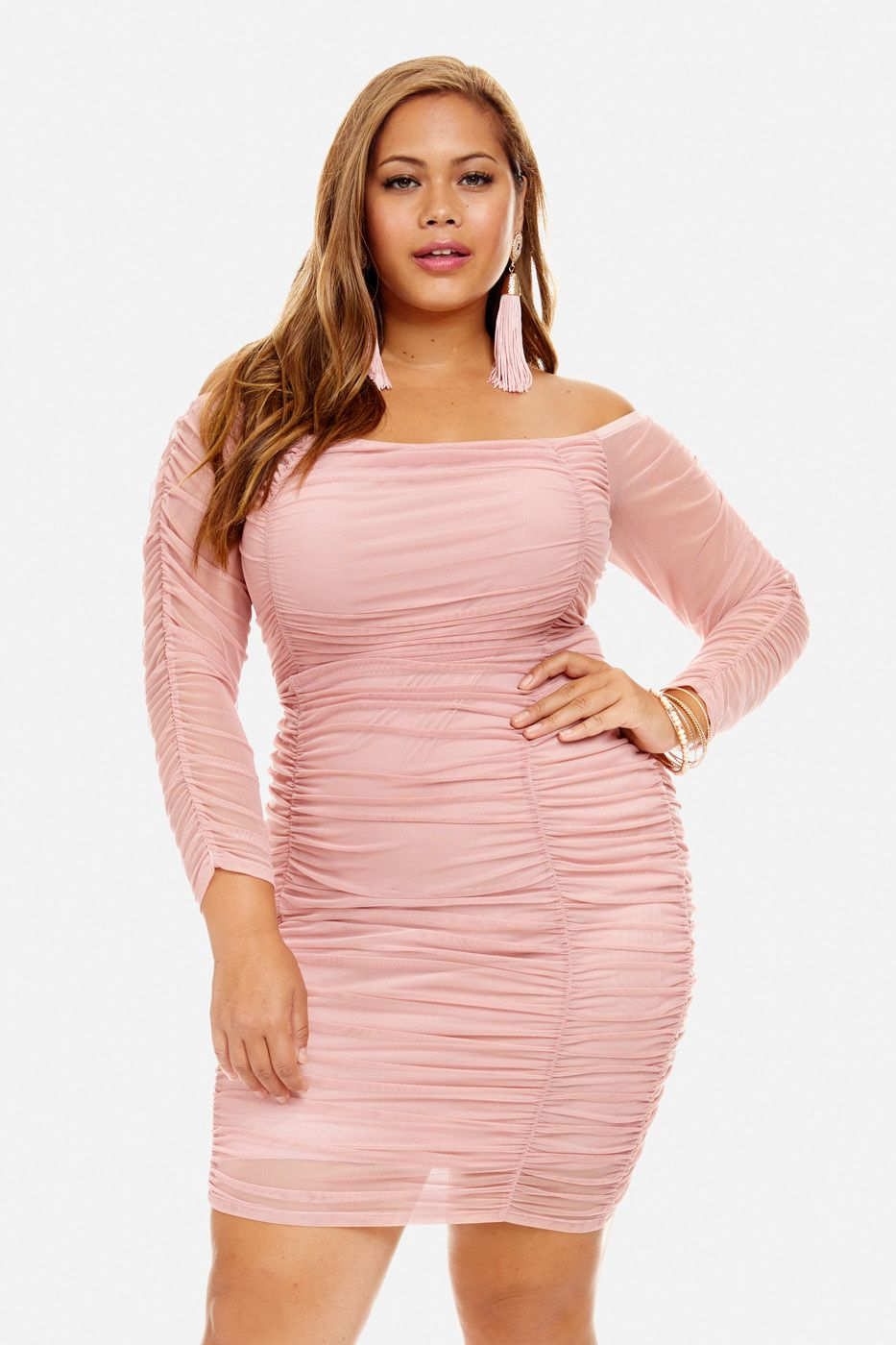 Plus Size Westwood Ruched Mesh Bodycon Dress | Curvas | Pinterest ...