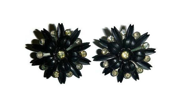 SALE 50s Atomic Black Starburst Earrings, Vintage Floral Rhinestone, Flower Mourning Jewelry, Goth Clip On Vintage Jewelry Gothic Halloween