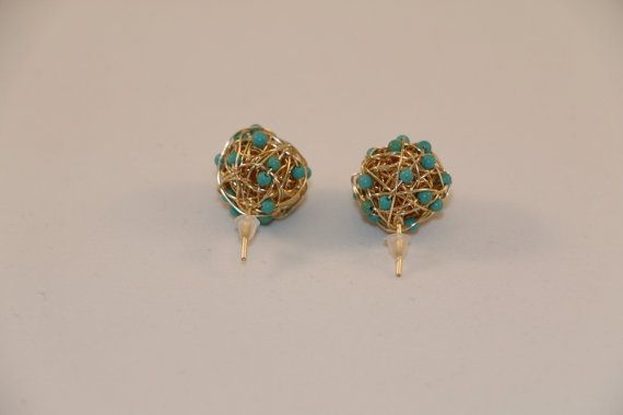Turquoise fire ball Earrings  golden and di FrankaStoneJewelry