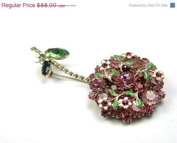 WEISS Rhinestone Flower Brooch 1940s Vintage Jewelry by OurBoudoir, $68.00
