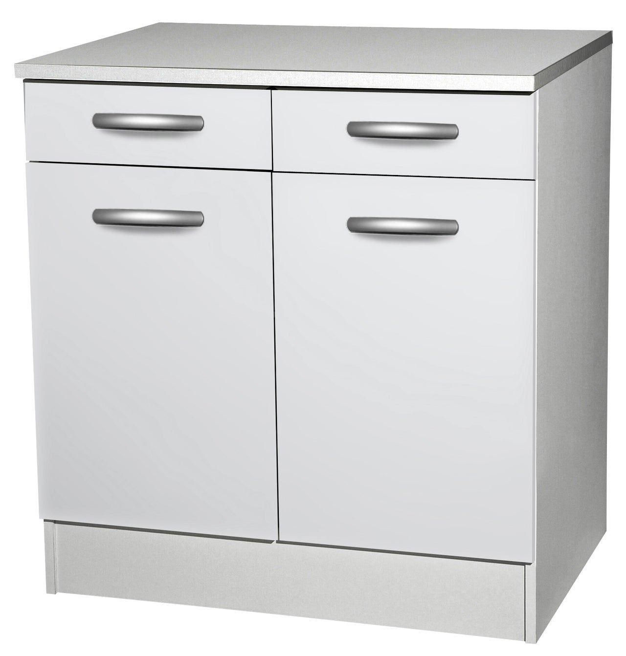 Meuble de cuisine bas 112 portes + 112 tiroirs, blanc, h12x l12x p12cm