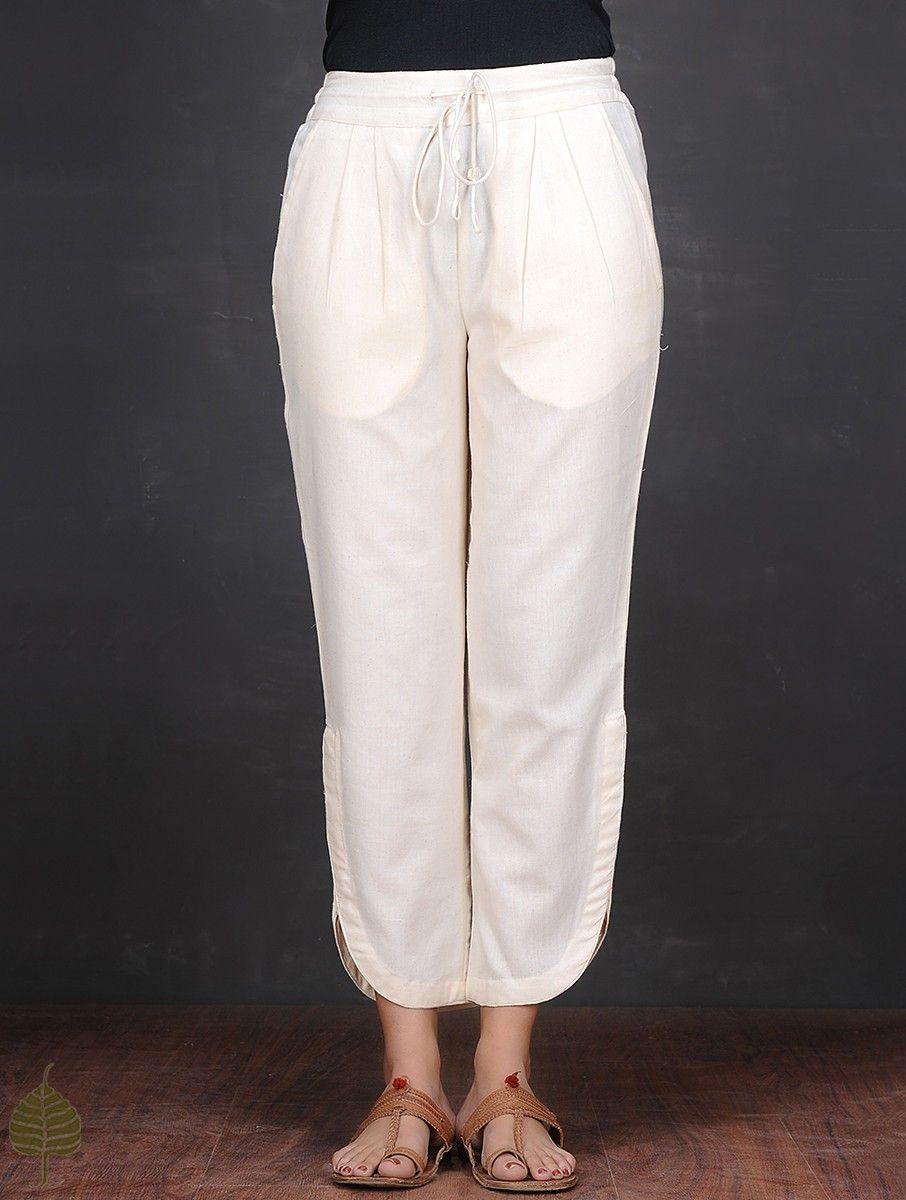 0e32dfa3e85b Buy Ivory Elasticated Tie up Waist Cotton Pants by Jaypore Women Online at  Jaypore.com