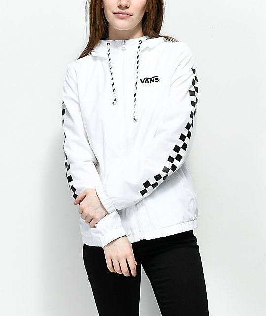 VANS CHECKER OVER SIZE PULL OVER HOODIE WHITE found on