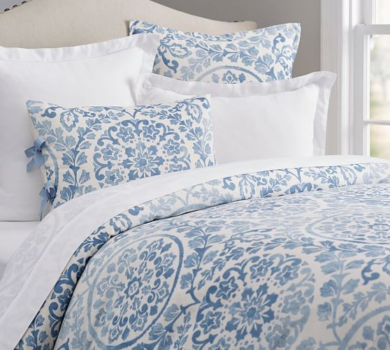 Ana Medallion Cotton Duvet Cover Amp Shams Smoke Medallion
