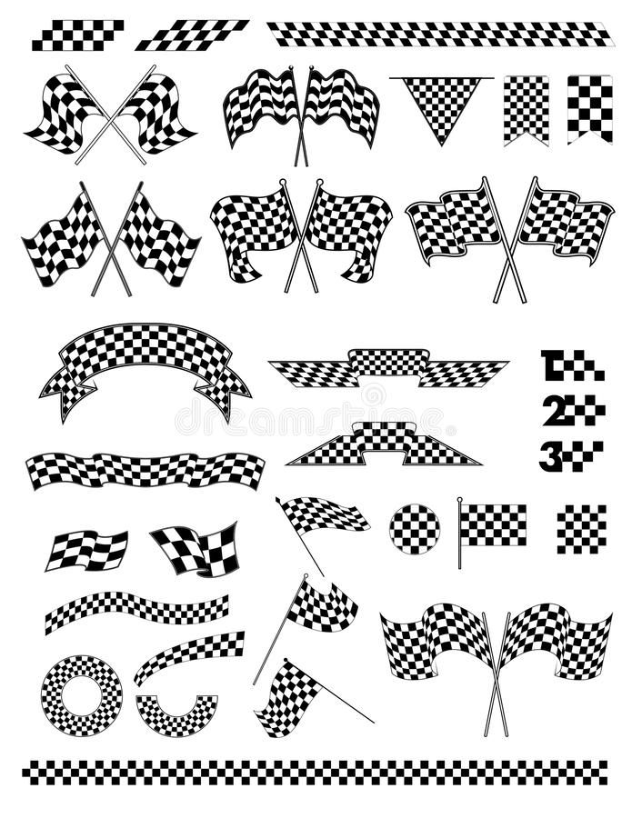 Checkered flag vector. Racing flags for decoration sports
