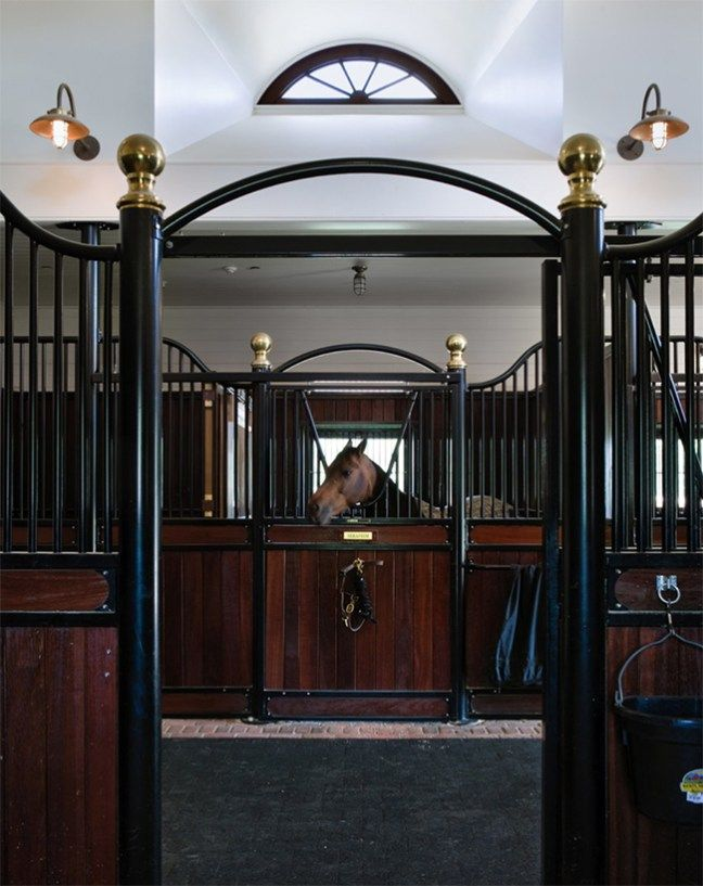Gorgeous dark wood stalls and arched metal details