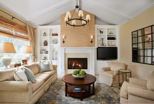 7 Color Schemes For The Living Room: Transitional Living Room With Warm  Color Scheme