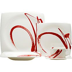 Red Vanilla Paint It Red 5-piece Dinnerware Set (Porcelain Geometric)  sc 1 st  Pinterest : red tableware set - pezcame.com