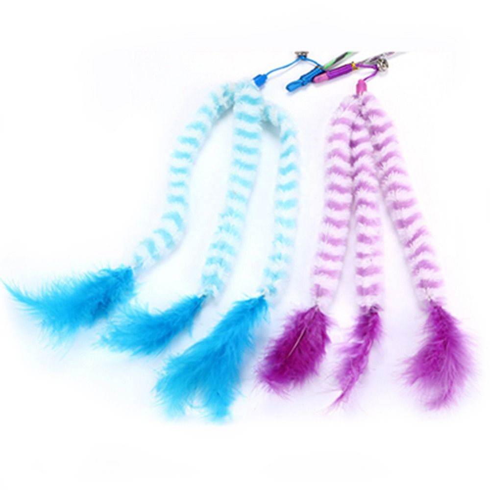 Cat Catch Rod 2 Colors Small Hair String Tease Cat Rod Handle Small Cat Toy Plush Pet Toys Cat Plaything Interactive Sticks
