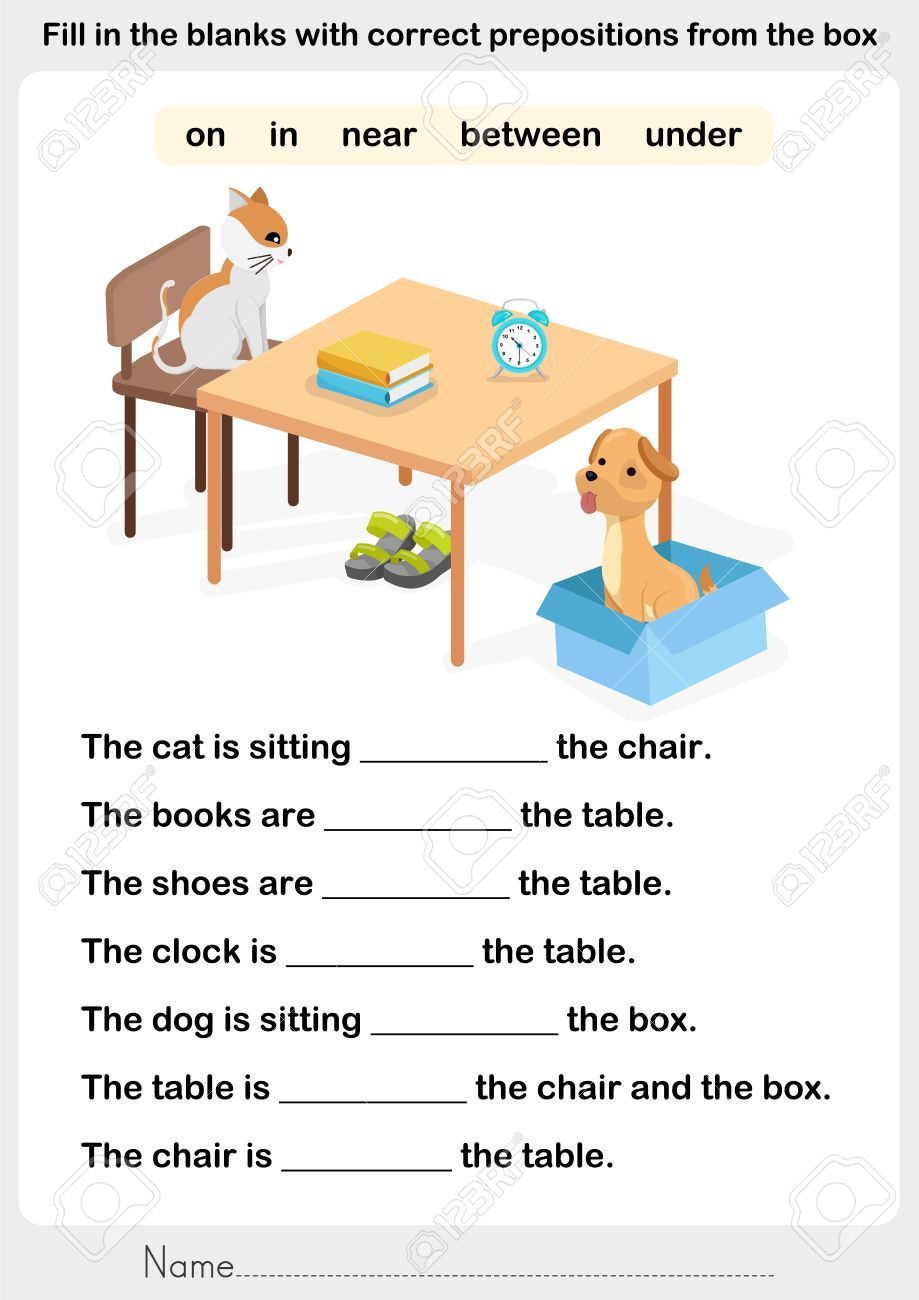 Image result for preposition worksheets in on under