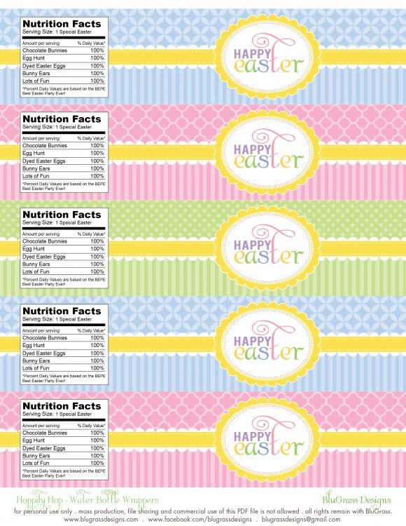FREE Easter Party Printables from BluGrass Designs Easter party - water bottle label template