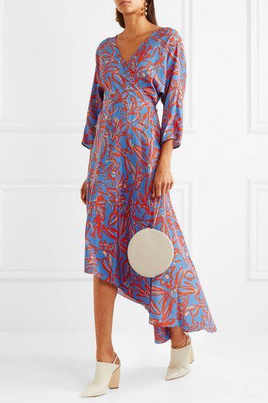 133675117e Diane von Furstenberg - Asymmetric Printed Silk Crepe De Chine Midi Wrap  Dress - Red