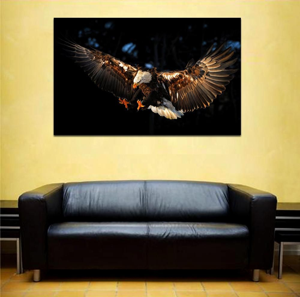 canik158 Canvas Print Stretched Eagle flying predator bird 26x43 ...