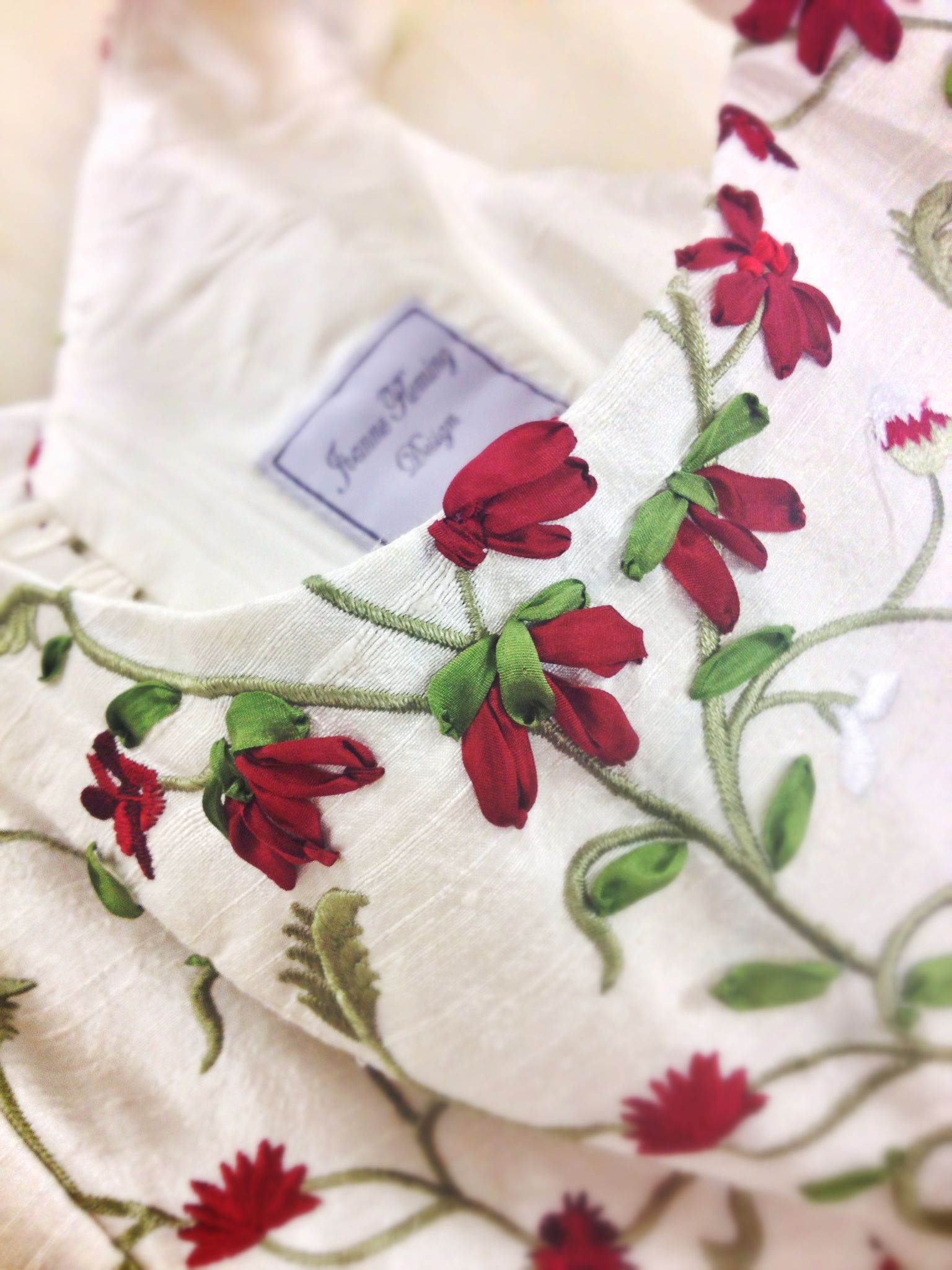 Ribbon embroidery bedspread designs - Claret Silk Ribbon Embroidery