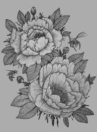 Image result for peony flower tattoo outline