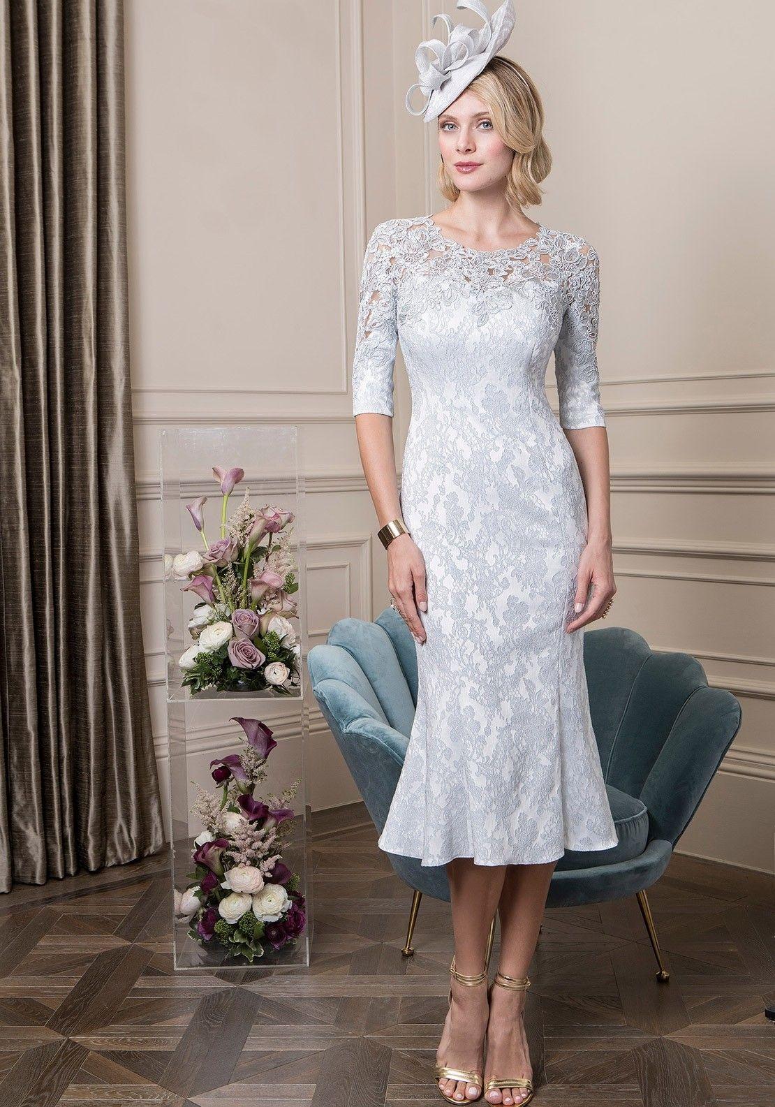 John Charles Jacquard Frill Hem Dress Platinum Bride Clothes Mother Of The Bride Dresses Groom Outfit