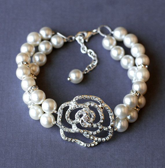 25 off Bridal Pearl Rhinestone Bracelet Double Strand by LXdesigns, $48.00