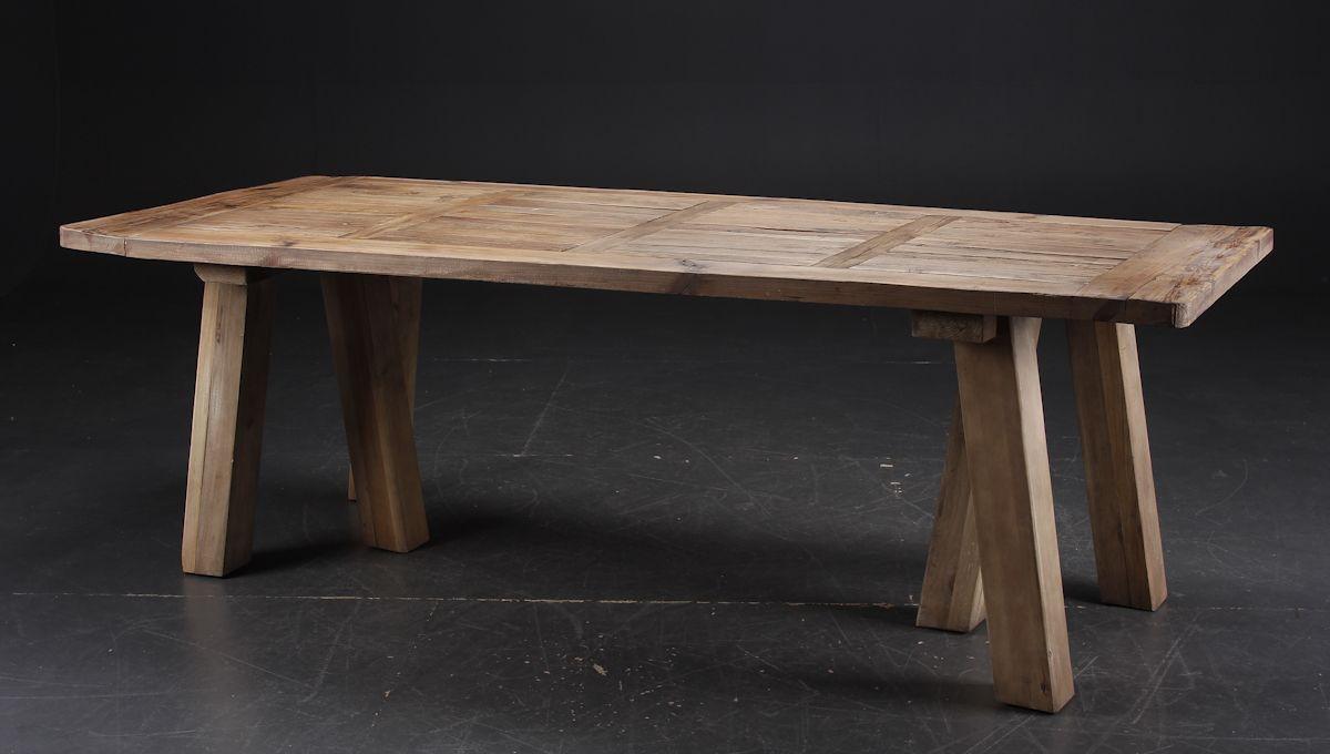 Langbord/Spisebord i fransk antik landstil. Af genanvendt gammelt elmetræ - Lauritz.com | Kontor ...