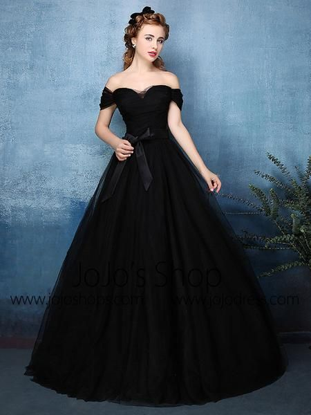 Black Off Shoulder Tulle Ball Gown Formal Dress | X1603 | Ball gowns ...
