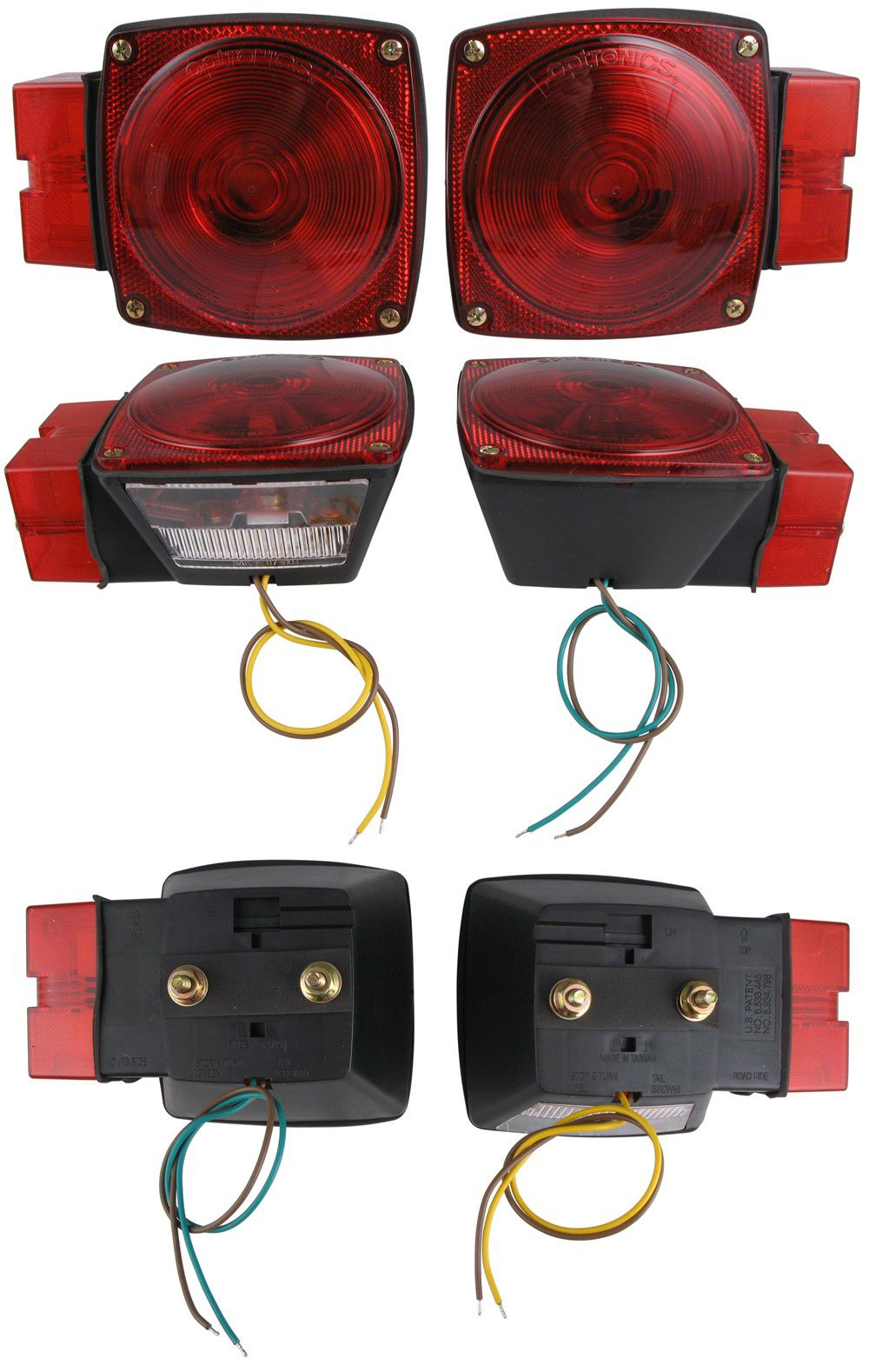 Red Submersible Trailer Light Kit With Stud Mount Lights License Wiring Mounting Bracket
