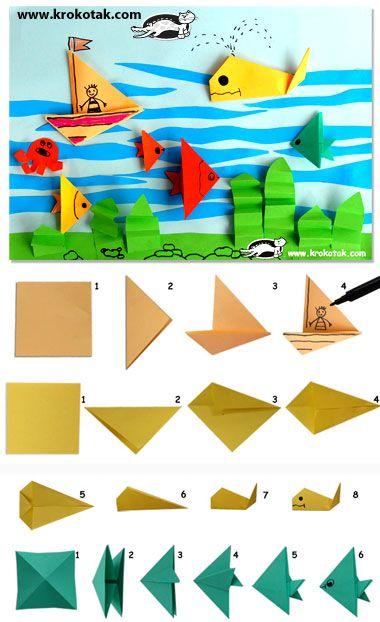 Con folios podemos crear barcos, aviones, peces ..., a través de la papiroflexia, de tal manera que se puede realizar un dibujo.