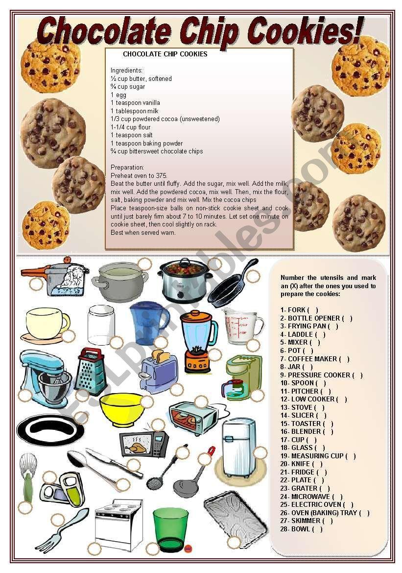 Chocolate Chip Cookies! ((recipe & activities on kitchen