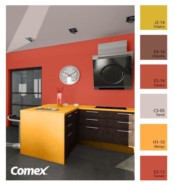 Colores fuera de lo ordinario para una cocina especial. #Comex ...