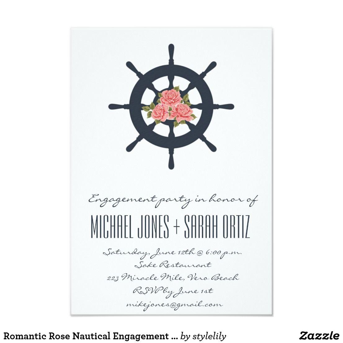 Romantic Rose Nautical Engagement Party Invitation Navy blue ...