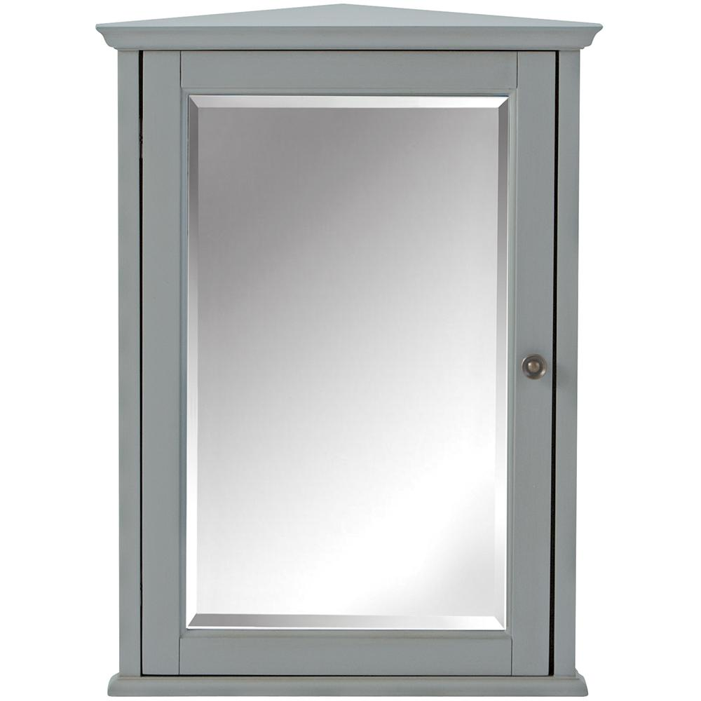 Home Decorators Collection Hamilton 27 In H X 20 In W Corner Wall Cabinet In Grey 0567700270 The Home Depot Bathroom Corner Storage Bathroom Wall Cabinets Wall Cabinet