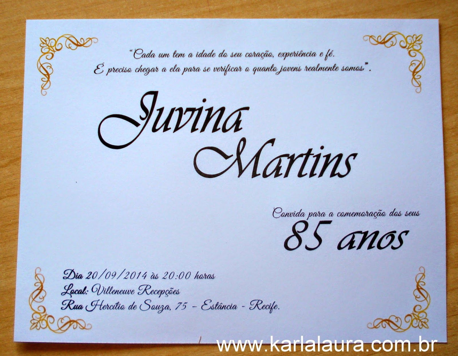 Convite De Aniversário 85 Anos Caderno De Mensagens Juvina