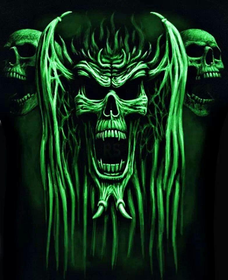 Green Skulls | 〰GLOWING GREEN〰 | Skull art, Skull, Skull ...