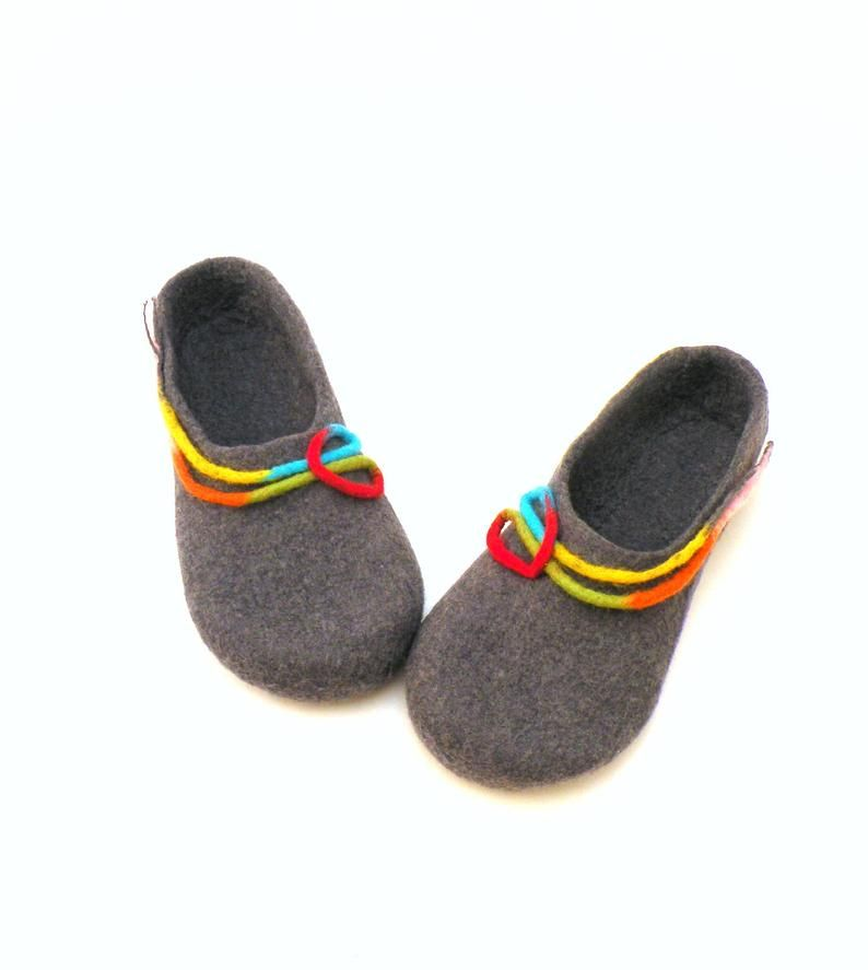 Photo of Felted wool slippers for women – handmade wool clogs – grey rainbow colorful slipper – wool clogs, valenki, houseshoes, warm bedroom slipper