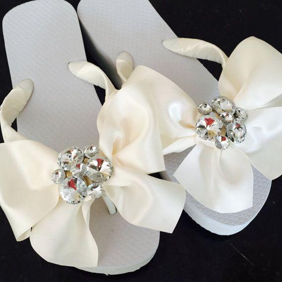 727916197c70 Bridal Flip Flops.SERIOUS Bridal BLING BLING! Beach Wedding Sandals.Wedding  Shoes.Rhinestone Thongs.
