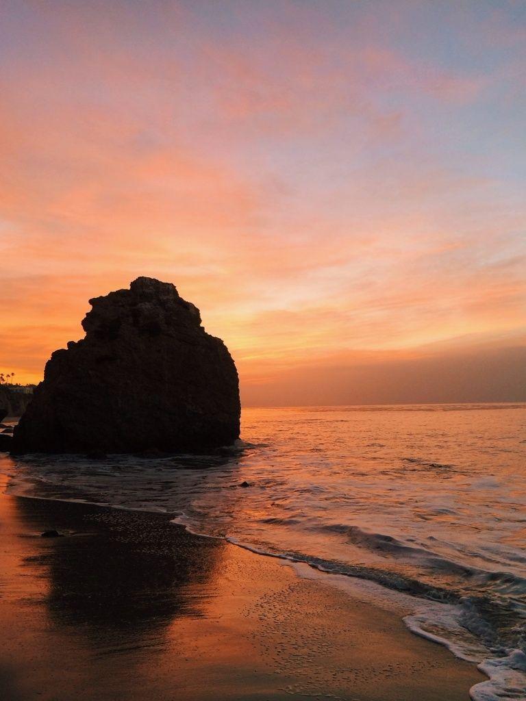 Pacific Ocean Malibu Beach Rock Red Sunrise