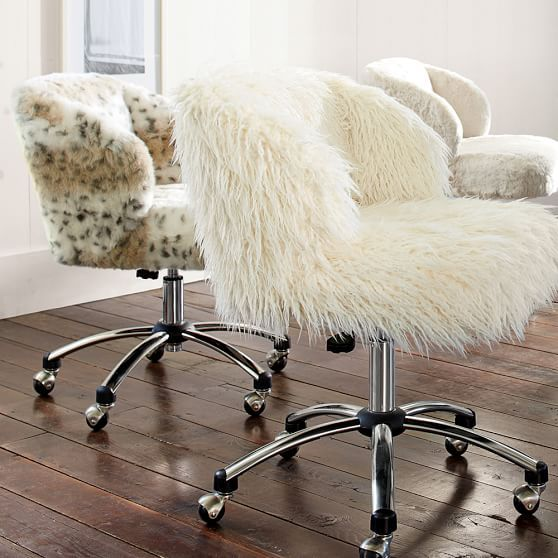 Captivating Ivory Furlicious Wingback Desk Chair | PBteen