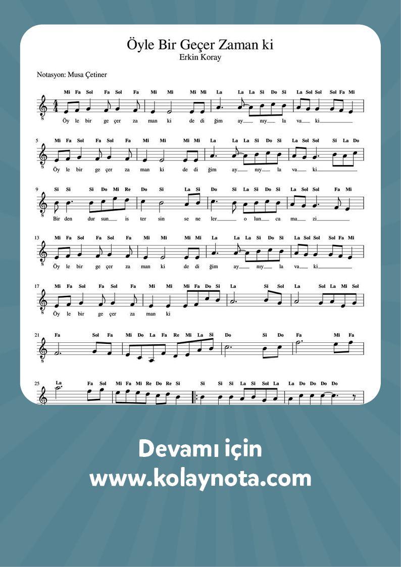 Erkin Koray Oyle Bir Gecer Zaman Ki Keman Muzik Notalari Muzik