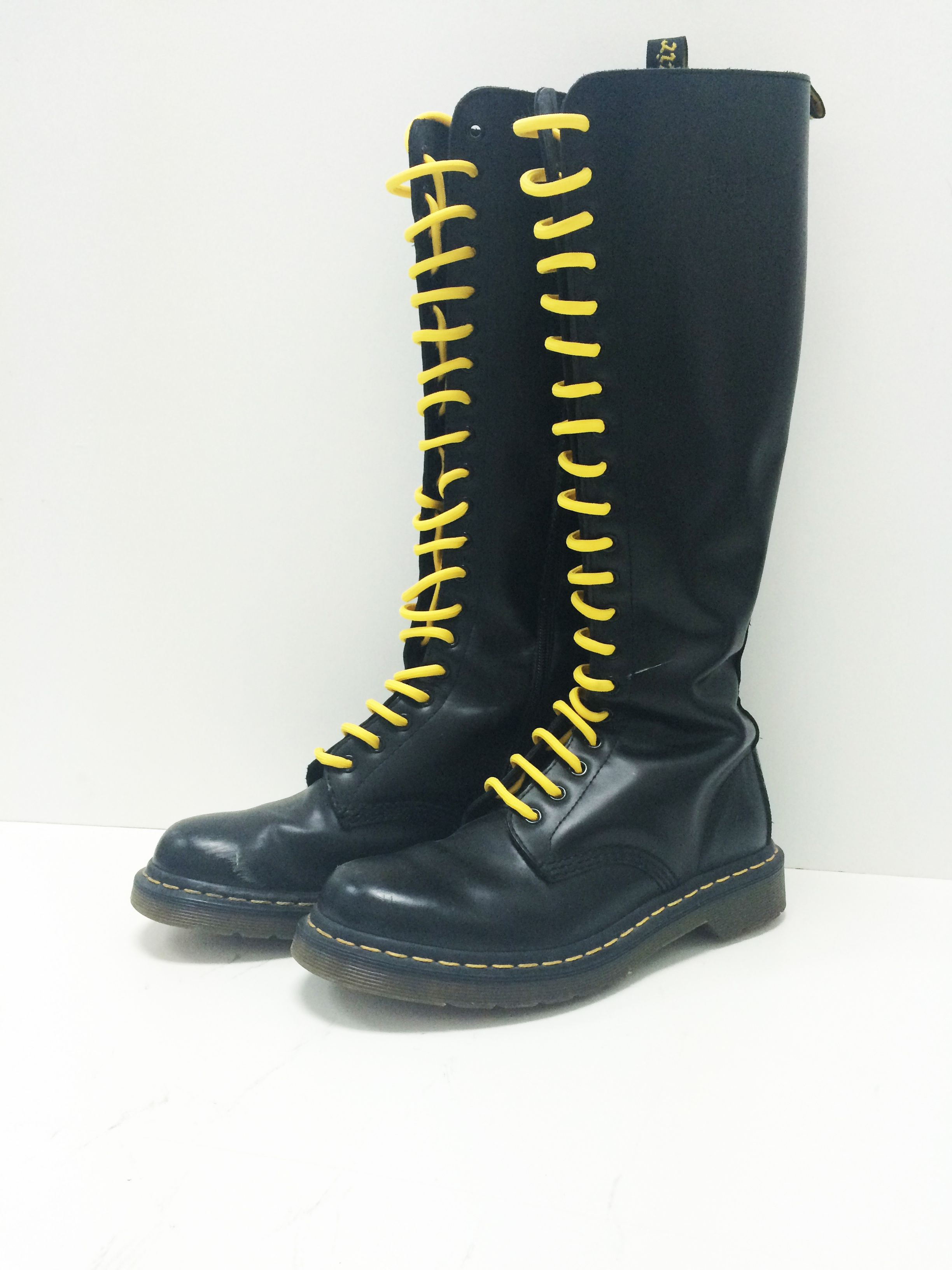 2abb4177d58d0 Dr. Martens Tall Black boots w/ yellow laces (Size 9) #S6250059 ...