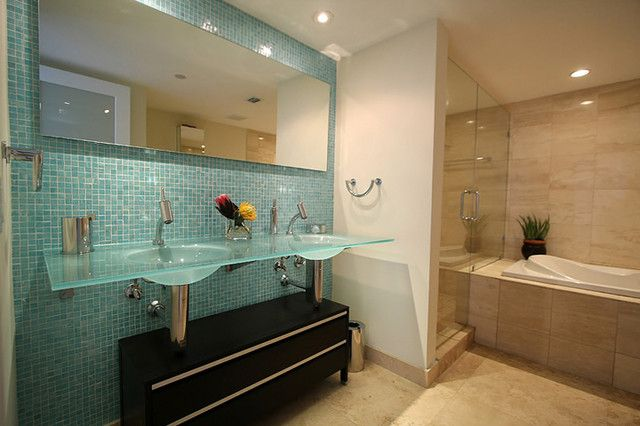 Glass Tile Shower Floor Bathroom Glass Tile Accent Wall Guest
