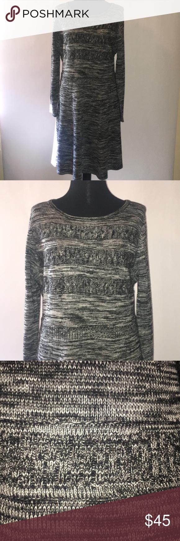 "987204cd61 Calvin Klein black white knit soft sweater dress • Approx 38"" long"