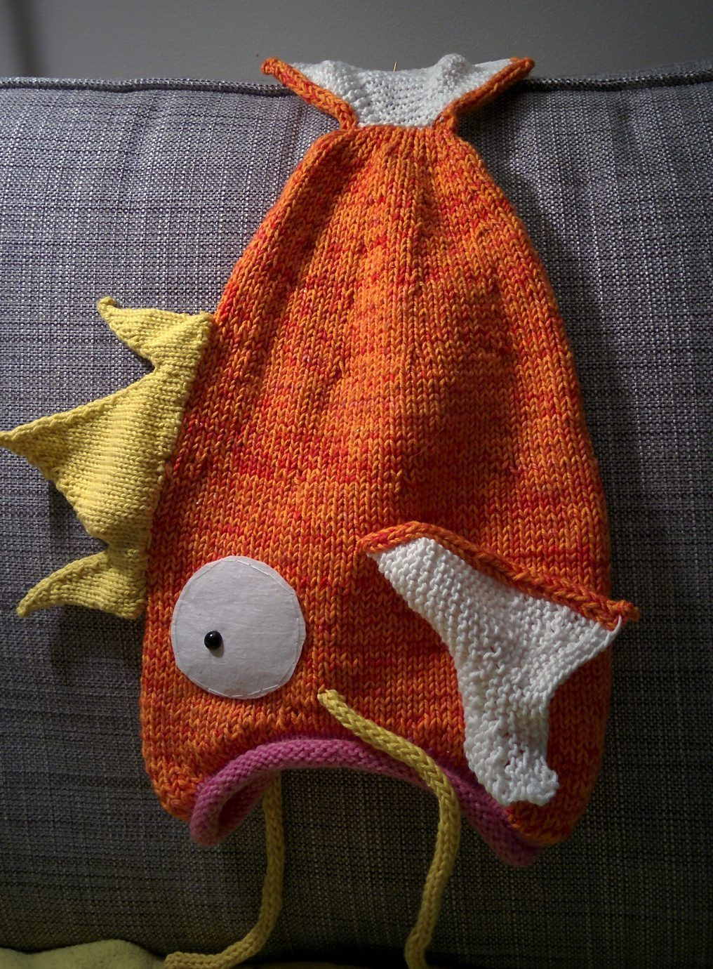1224f946726 Free Knitting Pattern for Magikarp Go Hat - Magikarp Go Hat This Pokemon Go  character was adapted into a hat by yarn-vs-zombies using Thelma Egberts  Fish ...