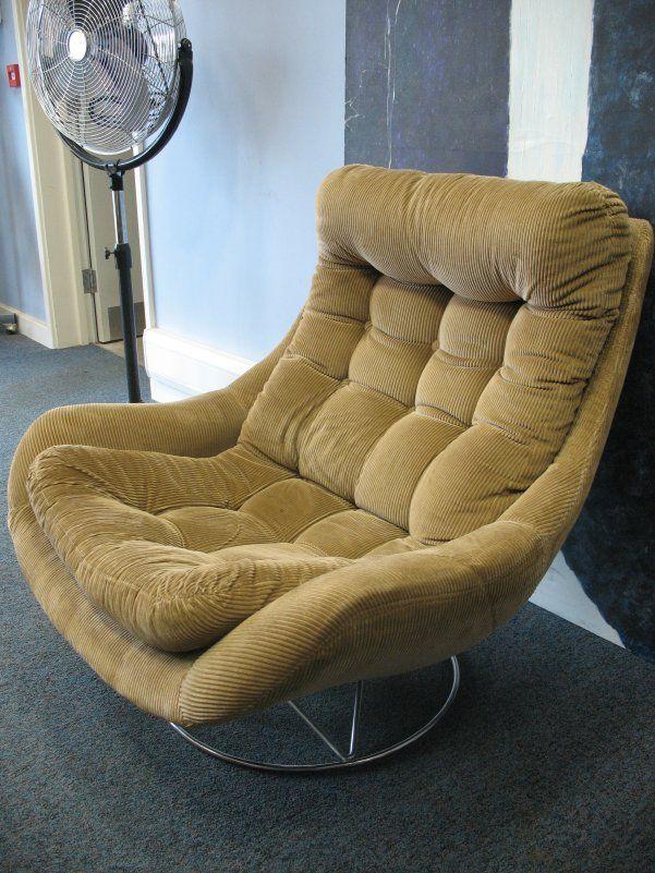 Chrome Base Corduroy Swivel Egg Chair