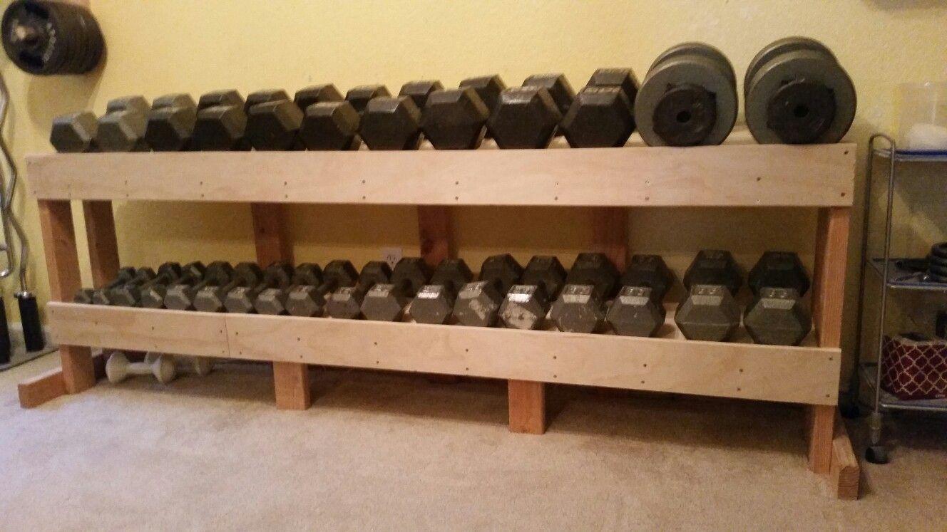 Diy Dumbbell Rack In 2019 Diy Dumbbell Diy Home Gym At