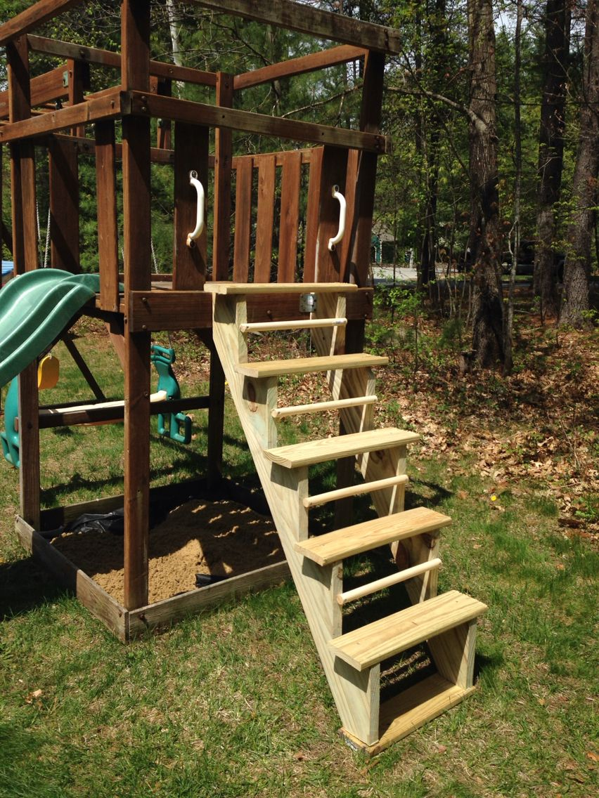 Diy Playset Stairs Used Pre Made Stair Stringer Upside