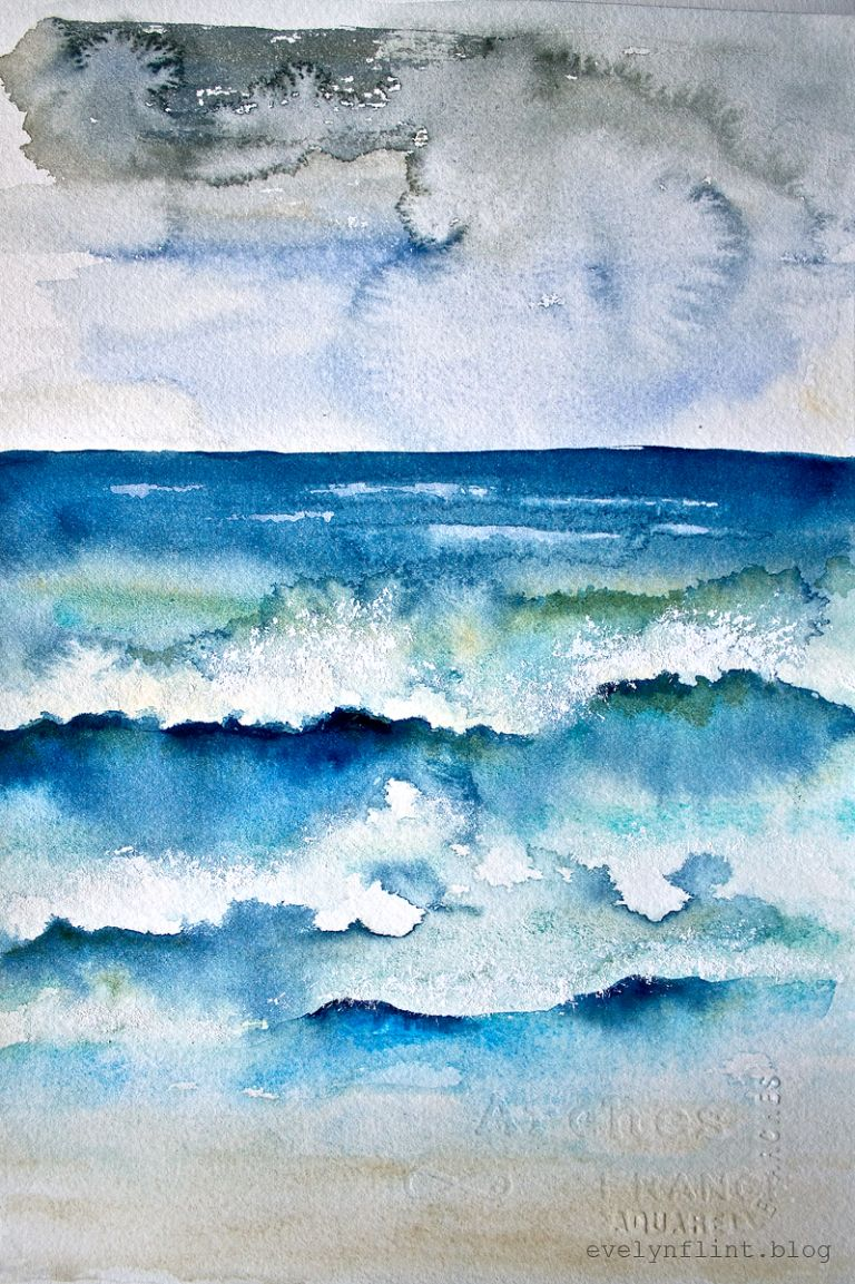 An Atlantic View Watercolor Ocean Colorful Backgrounds