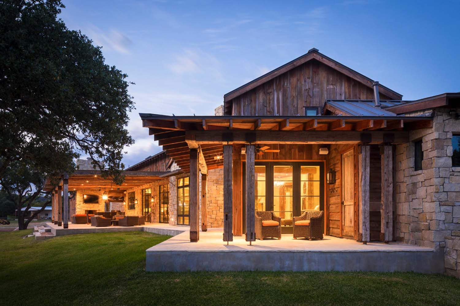 Modern rustic barn style retreat in texas hill country for Modern ranch style homes
